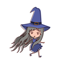cute witch flying in watercolor silhouette vector image