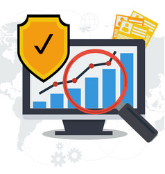 data security concept - paper and online vector image