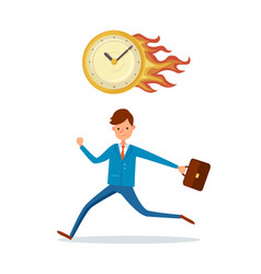 Deadline in office burning clock hurrying up male vector