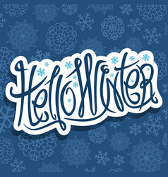 decorative lettering hello winter vector image