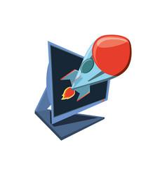 desktop computer with rocket vector image