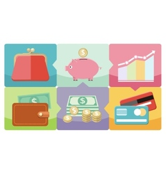 Dollar purse coin box pig icons vector