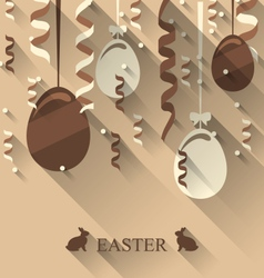 Easter background with chocolate eggs and vector image