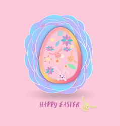 easter egg with cute rabbit and pattern inside on vector image