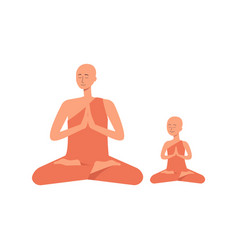family professes buddhism - a man and his child vector image