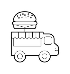 Fast food shop car vector