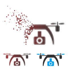 Fragmented pixel halftone drone video camera icon vector