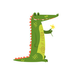 friendly crocodile standing with flower funny vector image