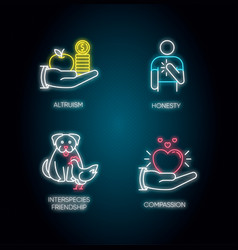 Friendly support neon light icons set signs with vector