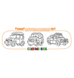 Funny buggy car or outroader coloring book set vector