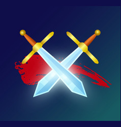 Game element with crossed magic swords vector