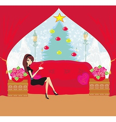girl drinking coffee on Christmas morning vector image