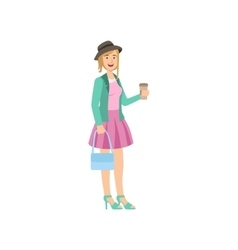 Girl In Pink Skirt Turquoise Jacket And Hat vector