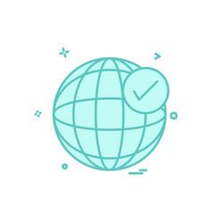 globe tick icon design vector image