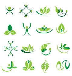Green leaves logo icons organic set vector