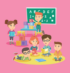 group of children with teacher in kindergarten vector image