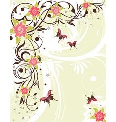 Grunge flower frame vector