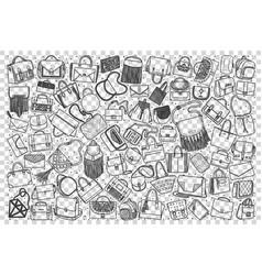 handbags doodle set vector image