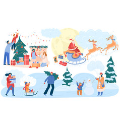 happy family celebrating christmas winter outdoor vector image
