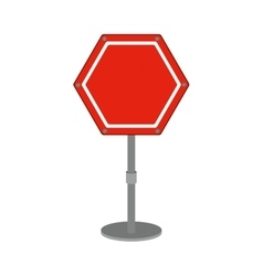 Hexagon road sign red icon vector