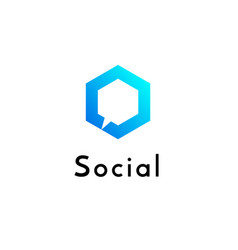 hexagonal geometrical social network logo vector image
