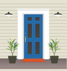 House door front with doorstep and mat window vector