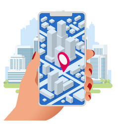 isometric location track app on touchscreen vector image