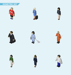 isometric people set of male housemaid hostess vector image