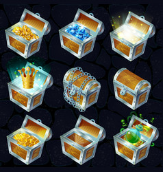 Isometric treasure chests collection vector