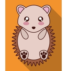 Kawaii hedgehog icon Cute animal graphic vector