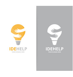 Lamp and hands logo combination lightbulb vector