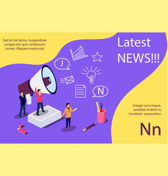 latest news isometric concept vector image