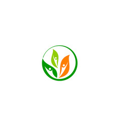 leaf health logo design template vector image