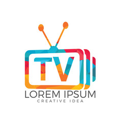 Letter tv logo design vector