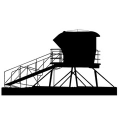 Lifeguard tower silhouette in black vector