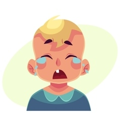 Little boy face crying facial expression vector
