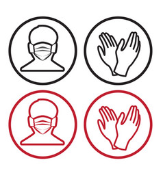 Medical masks for face and hand protection vector