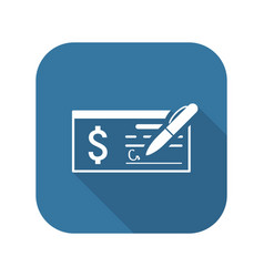 Money check business icon flat design vector