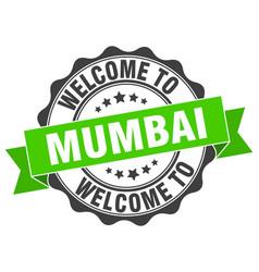 Mumbai round ribbon seal vector