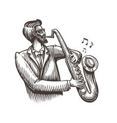 musician plays saxophone jazz live music vector image