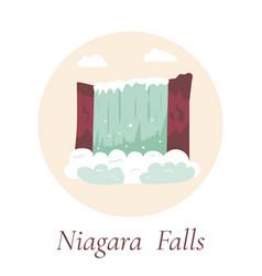 Niagara falls natural landmark canada and usa vector