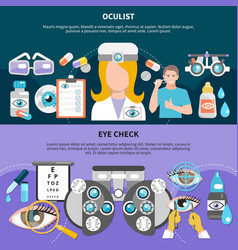 Oculist eye examination banners vector
