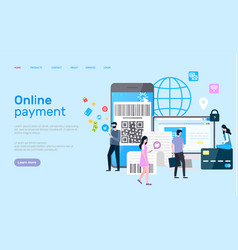 online payment page modern gadgets and devices vector image