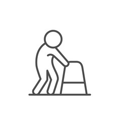 person with walking frame line icon vector image