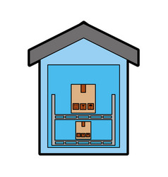 Pile boxes carton in warehouse delivery icon vector