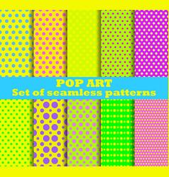 Pop art seamless pattern set dotted pop art vector