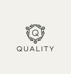 premium linear shield monogram letter w logotype vector image