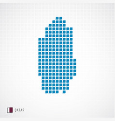 qatar map and flag icon vector image