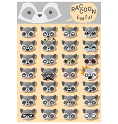Raccoon emoji icons vector