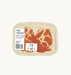 raw pork shoulder in pack sketch vector image